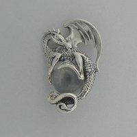Zilveren Hanger Draak met kristallen bal
