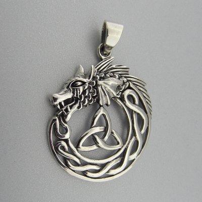 Zilveren Hanger Draak met Keltische Triquetra
