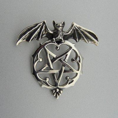 Zilveren Hanger Vleermuis met Pentagram