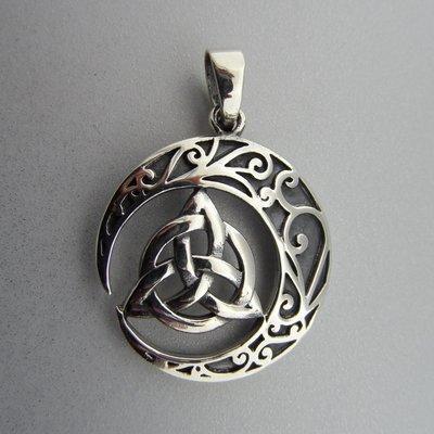 Zilveren Hanger Keltische Maan met Triquetra