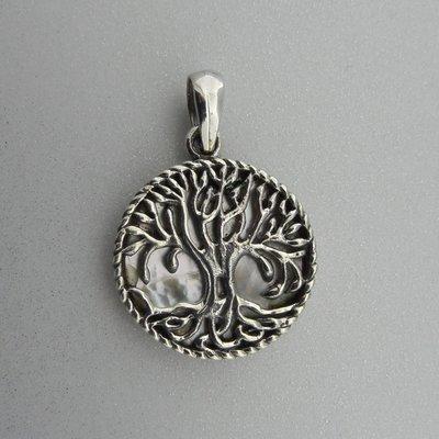 Zilveren Hanger Levensboom op Parelmoer