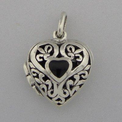 Zilveren Hanger Medallion bewerkt hart met Onyx