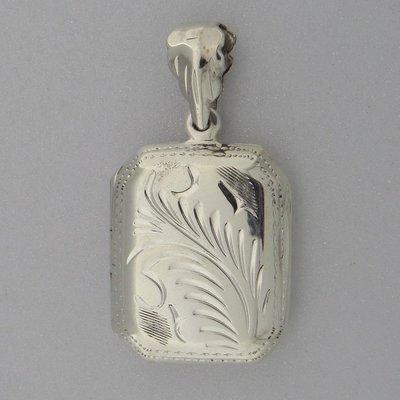 Zilveren Hanger Medallion Rechthoek