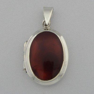 Zilveren Hanger Medallion Carneool ovaal