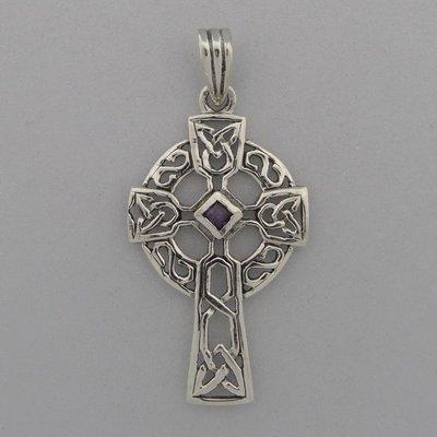 Zilveren Hanger Keltisch Kruis met Amethist