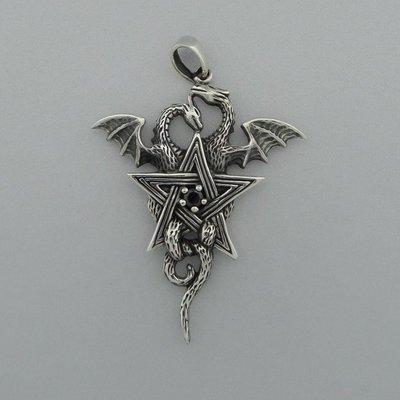 Zilveren Hanger Draak in Pentagram