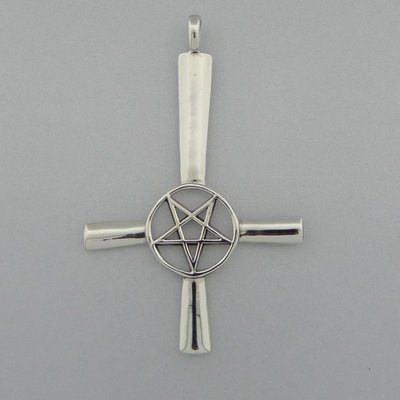 Zilveren Hanger Omgekeerd Kruis met Pentagram