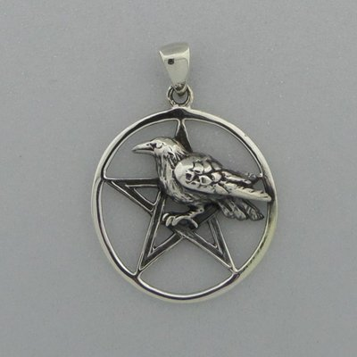Zilveren Hanger Pentagram met vogel