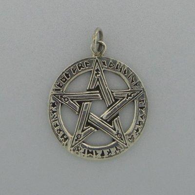 Zilveren Hanger Pentagram met Runentekens