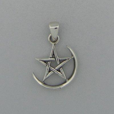 Zilveren Hanger Pentagram in halve maan