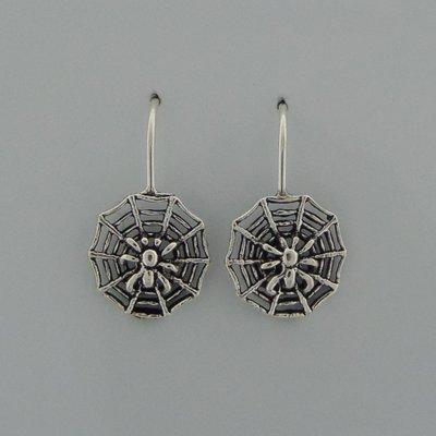 Zilveren Oorbel Spinnenweb