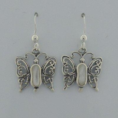 Zilveren Oorbel Vlinder parelmoer