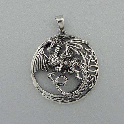 Zilveren Hanger Draak in keltische cirkel