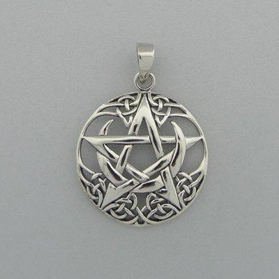 Zilveren Hanger Pentagram halve maan
