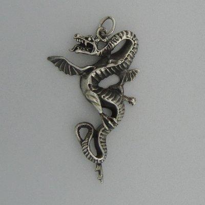 Zilveren Hanger Draak
