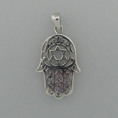 Zilveren Hanger Handje van Fatima met David ster
