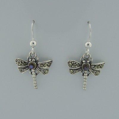 Zilveren Oorbel Libelle met parelmoer steentje