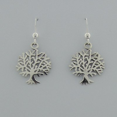 Zilveren Oorbel Levensboom