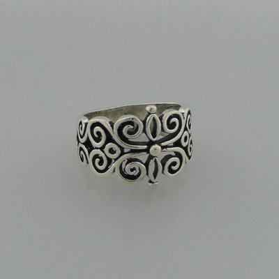 Zilveren Ring Bloemvorm open bewerkt
