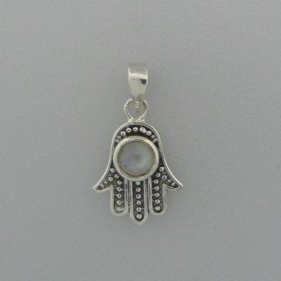 Zilveren Hanger Handje van Fatima met maansteen