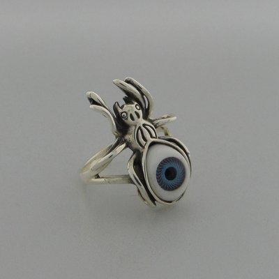 Zilveren Ring Spin met oog