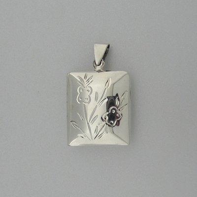 Zilveren Hanger Medallion met Bloemetjes