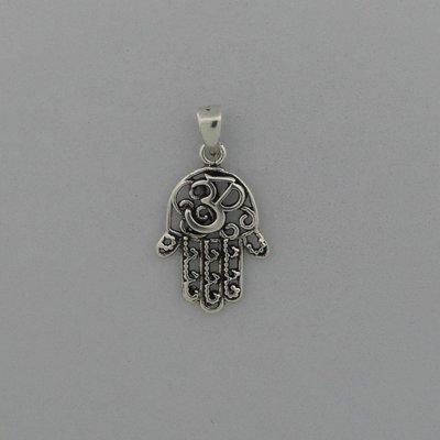 Zilveren Hanger Handje van Fatima met Ohm