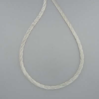 Zilveren Ketting plat gevlochten 50 cm