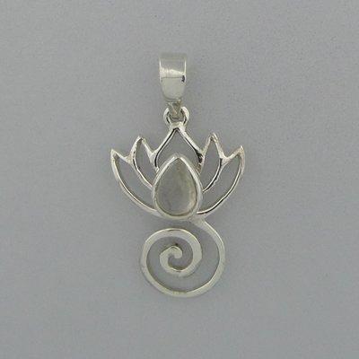 Zilveren Hanger Lotus met Maansteen