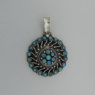 Zilveren Hanger Flower Turquoise