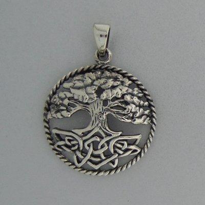 Zilveren Hanger Levensboom met Eindeloze knoop