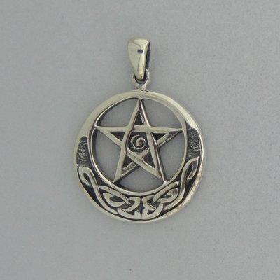 Zilveren Hanger Pentagram in Keltische Halve Maan