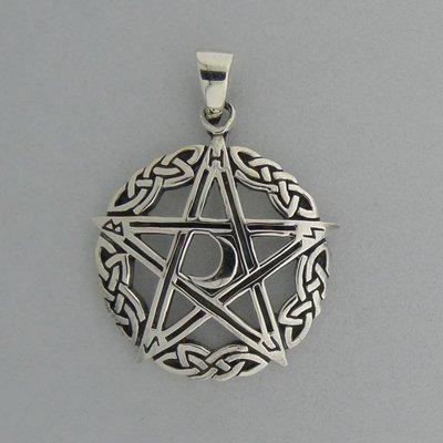 Zilveren Hanger Pentagram met halve maan