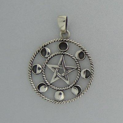 Zilveren Hanger Pentagram met maancyclus