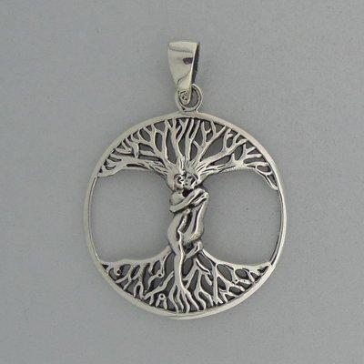 Zilveren Hanger Levensboom met Verliefd Stelletje