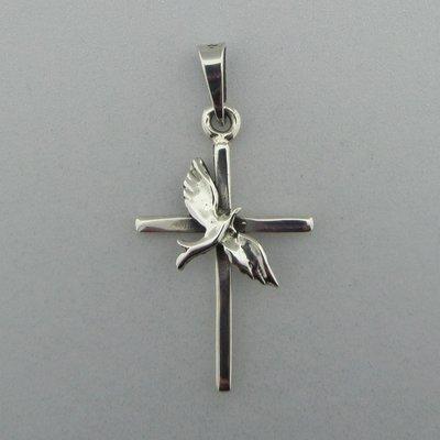 Zilveren Hanger Kruis met vogel