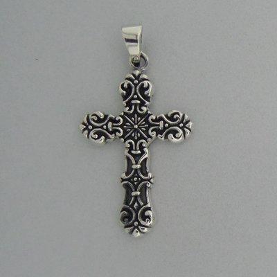 Zilveren Hanger Kruis bewerkt