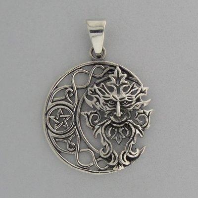 Zilveren Hanger Greenman in Halve Maan met Pentagram
