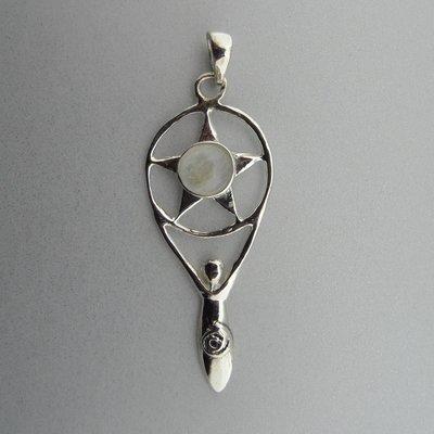 Zilveren Hanger Gaia met Ster en Maansteen