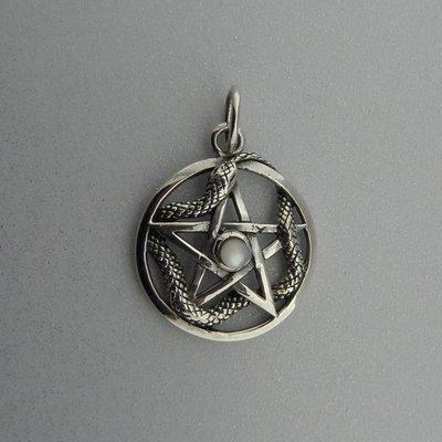 Zilveren Hanger Pentagram met Slang en Parelmoer