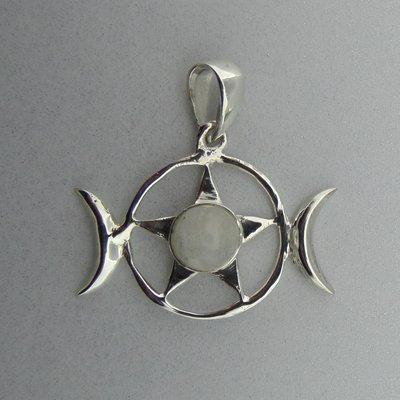 Zilveren Hanger Ster met Maansteen en Halve manen