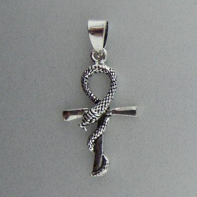 Zilveren Hanger Ankh met slang