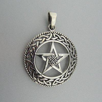 Zilveren Hanger Pentagram in Cirkel