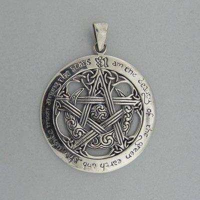 Zilveren Hanger Pentagram Halve Maan Triskel Triquetra