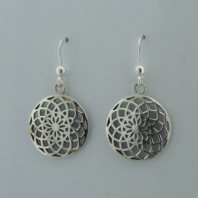 Zilveren Oorbel Flower of Life