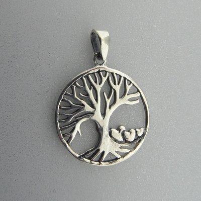 Zilveren Hanger Levensboom met Hartjes