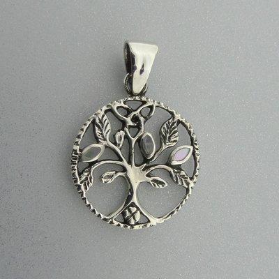 Zilveren Hanger Levensboom met Parelmoer blaadjes
