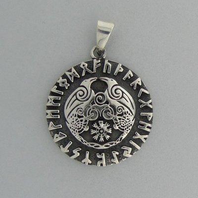 Zilveren Hanger De Twee Raven van Odin met Runentekens