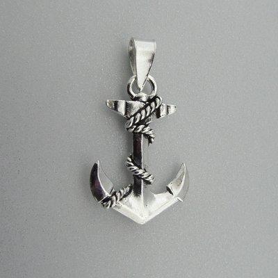 Zilveren Hanger Anker met Touw
