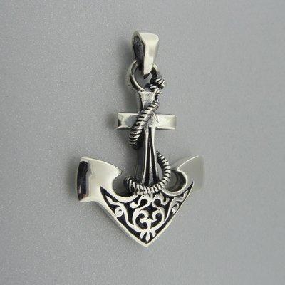 Zilveren Hanger Anker bewerkt met Touw